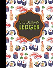 """3 Column Ledger: Accounting Paper, Accounting Ledger Book, Bookkeeping Ledger Sheets, 8.5"""" x 11"""", 100 pages"""