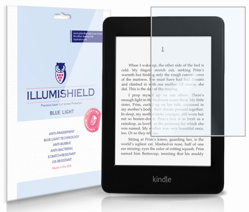 Amazon Kindle Paperwhite Screen Protector (2012,2013)[2-Pack](Wi-Fi), iLLumiShield - (HD) Blue Light UV Filter / Premium Clear Film / Anti-Fingerprint / Anti-Bubble Shield (Kindle Accessories Light)