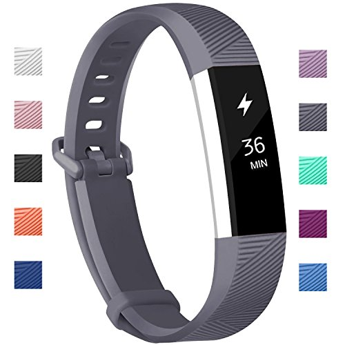 Fundro Compatible Fitbit Alta HR Bands, Newest Sport Replacement Wristbands Secure Metal Buckle Fitbit Alta HR/Fitbit Alta (C# 1-Pack Gray, Small (6.2-7.1))