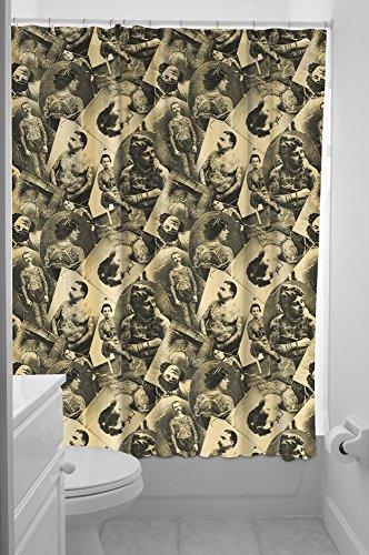 Tattoo Shower Curtains - Sourpuss Tattooed Old Timers Shower Curtain