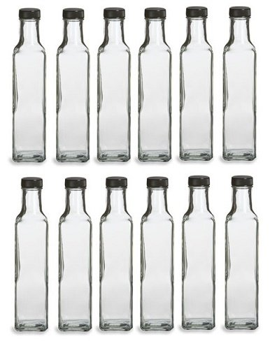 - Nakpunar 12 Glass Bottles, 8.5 oz. w/Black Cap - Marasca, Quadra Bottle for Oil, salad dressing vinegar bottle, message in the bottle, wedding favors