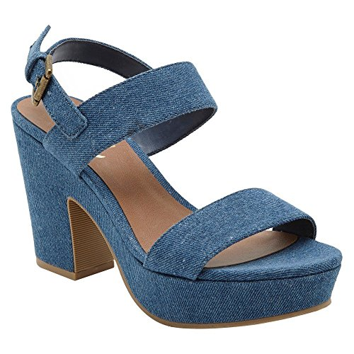 Revel Women's Chambray Denim Wrap Platform Sandal - Blue (9 B(M) ()