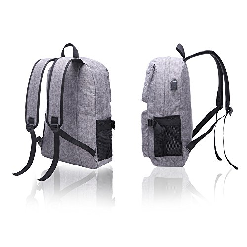 Hanxiema Travel Laptop Backpack Fit 15.6 Inch Laptop or Macbook Oxford Cloth with USB Charging Port Large Capacity School Computer Bag for Men Women (Grey HXm-02-1) by Hanxiema (Image #1)'