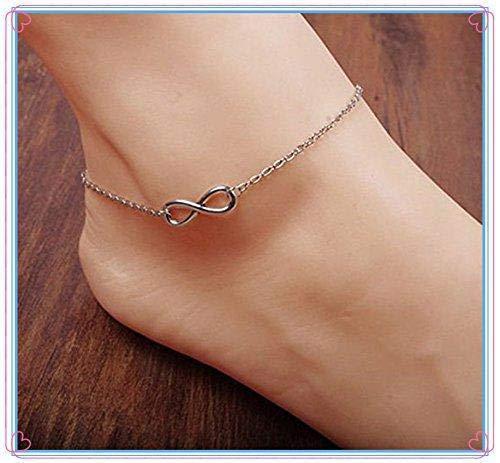 Hoveey Cha/îne de cheville en argent sterling pour femme Motif pieds nus 21 cm