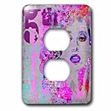 3dRose Andrea Haase Art Illustration - Modern Pink And Grey Women Face Vintage Illustration With Number 5th - Light Switch Covers - 2 plug outlet cover (lsp_268124_6)