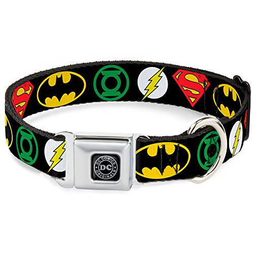 Buckle-Down Seatbelt Buckle Dog Collar - Justice League Superhero Logos - 1