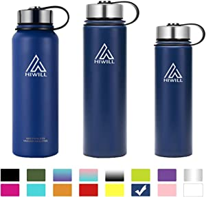 Hiwill Stainless Steel Insulated Water Bottle 2 Lids, Cold 24 Hrs Hot 12 Hrs, Double Wall Vacuum Thermos Flask, Travel Sports Leak Proof Bottle, BPA Free (Cobalt, 27 oz)