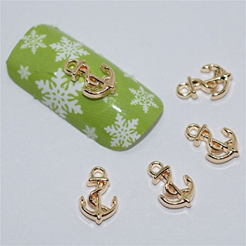 3D Rose Gold Charm Anchor Fatback For Nail Art Phone Scrapbook Decorations DIY - Gold 3d Anchor Charm