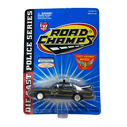 (Road Champs Diecast Police Series Crown Victoria 1:43 Scale Ohio State Highway Patrol Car Replica)
