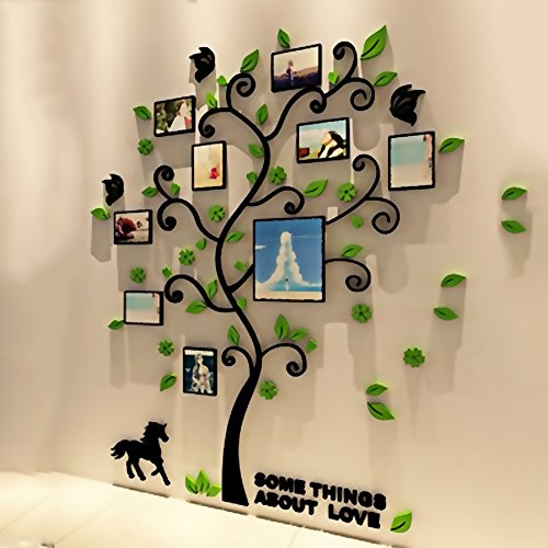 DIY 3D Creative Acrylic Crystal Stereo Large Family Photo Frame Tree Wall Sticker for Living room bedroom kitchen entrance bathroom balcony study hall aisle and children's room (m)
