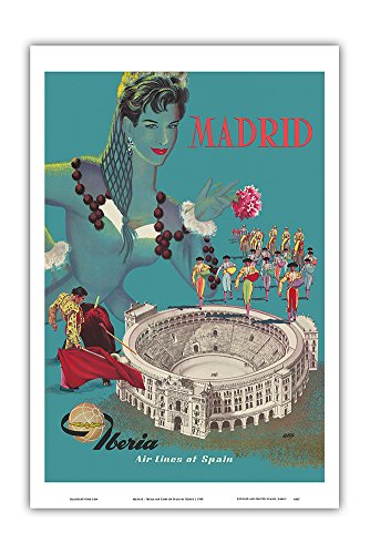 Pacifica Island Art Madrid - Iberia Air Lines of Spain - Plaza de Toros de Las Ventas - Bullfighting Arena - Vintage Airline Travel Poster by Gorosc.1960 - Master Art Print - 12in x 18in by Pacifica Island Art