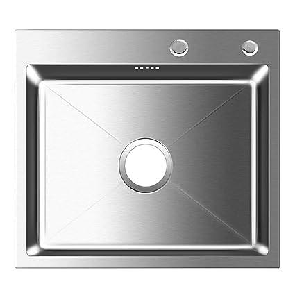 Auralum - Fregadero de Un Seno para Cocina de Acero Inoxidable (55 x 45 x 22 cm) | Fregaderos Cocina Acero un Seno con Escurridor