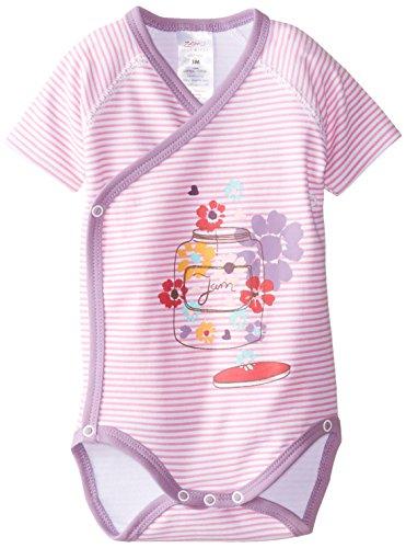 Zutano Baby-Girls Newborn Flower Jam Screen Short Sleeve Wrap Body, Hot Pink, 3 Months