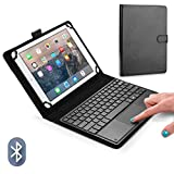 COOPER TOUCHPAD EXECUTIVE Keyboard case for 9'', 10'', 10.1'', 10.5 inch tablets |2-in-1 Bluetooth Wireless Keyboard with Touchpad & Leather Folio Cover | Touchpad Mouse, 100HR Battery, Hotkeys, Black