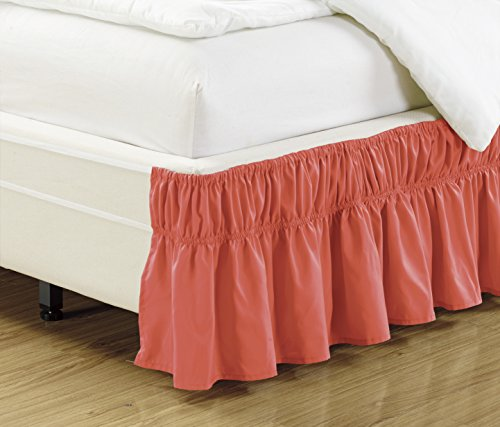"Wrap Around 17"" inch fall CORAL ORANGE Ruffled Elastic Solid Bed Skirt Fits All QUEEN, KING and CAL KING size bedding High Thread Count Microfiber Dust Ruffle, Silky Soft & Wrinkle Free."