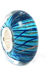 Blue and Gold-tone Stripe of Waves Glass Bead Sterling Silver Core For European Charm Bracelets