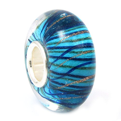 Gold Tone Blue Glass Beads (Blue and Gold-tone Stripe of Waves Glass Bead Sterling Silver Core For European Charm)