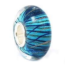 Sterling Silver Stripe Wave Blue Gold Glass Bead For European Chamilia Biagi Troll Pandora Charm Bracelets