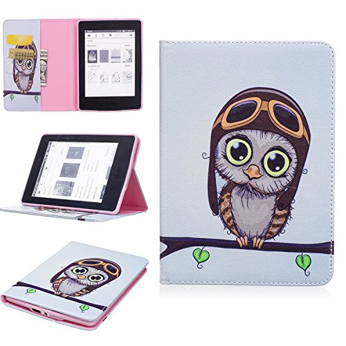 Beimu For Kindle Paperwhite Case,Ultra Slim Lightweight Standing PU Leather Magnetic Case Cover for All-New Amazon Kindle Paperwhite (Fits All 2012, 2013, 2015 and 2016 Versions) - Pink Owl 2012