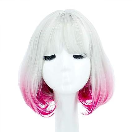 Postizos Peluca de degradado, peluca chica anime pera cabeza ...