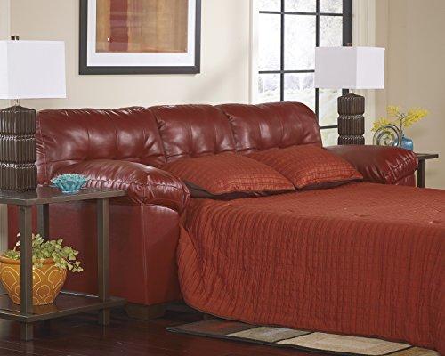 Alliston DuraBlend Contemporary Salsa Color Faux Leather Queen Sofa Sleeper