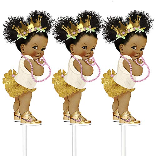 Little Gold Princess Table Decoration Centerpieces, Set of 3 African American Princess Royal Birthday Cake Centerpieces]()