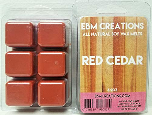 Red Cedar - Scented All Natural Soy Wax Melts - 6 Cube Clamshell 3.2oz Highly ()