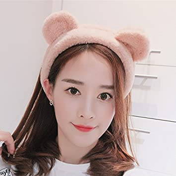 Amazon.com   Korean version of the three-dimensional Bear ears with hair  bands headband sell Meng face makeup headband hair plush solid color for  women girl ... af888758b4e