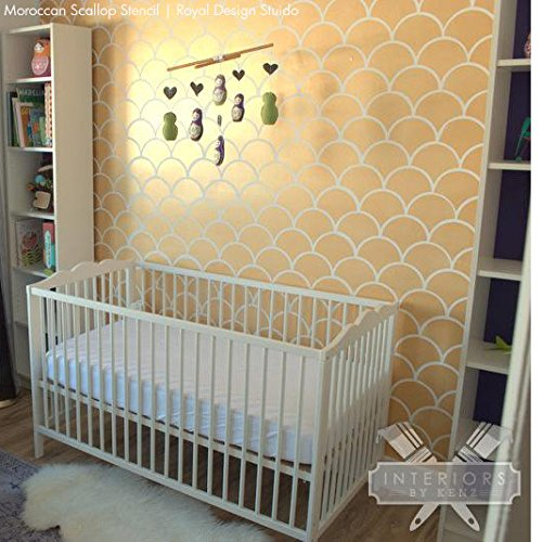 Large Moroccan Scallops Wall Stencil with Modern Fish Scales Wallpaper Look