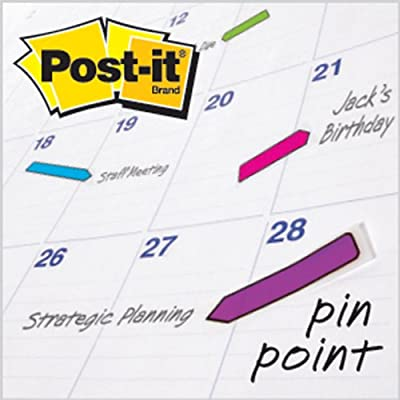 Post-it Arrow Flags, Primary and Bright Assorted Colors, 1/2-Inch Wide