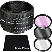 Nikon AF NIKKOR 50mm f/1.8D Lens Bundle for Nikon DSLR Cameras (White Box)
