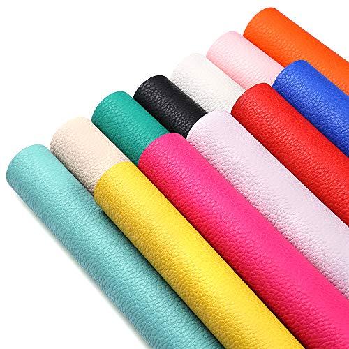 [해외]Sn톄 Ecr 12 개 12 색 가짜 PU 가죽 직물 시트 열매 패브릭 캔버스 백 8.8 『 × 12.8 』 (22.3 cm × 32.5 cm) DIY 머리 활 지갑 핸드백 책 표지공예 만들기 / Sntieecr 12 Pieces 12 Colors Faux?PU Leather Fabric Sheets Litchi Fabric Canvas B...