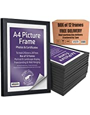 A4 black Picture frame photo frames certificate box pack 12 bulk perspex free standing wall hanging