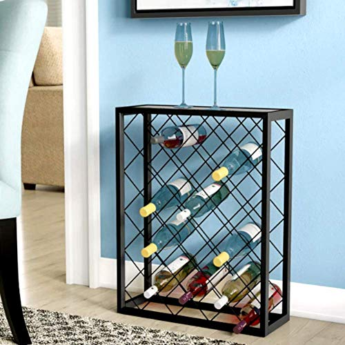 (mid Century Modern Wine Cabinet, 32 Bottle Modern Pewter Finish Metal and Tempered Glass Wine Rack, Contemporary Bottle Floor Wine Glass Rack & E-Book)