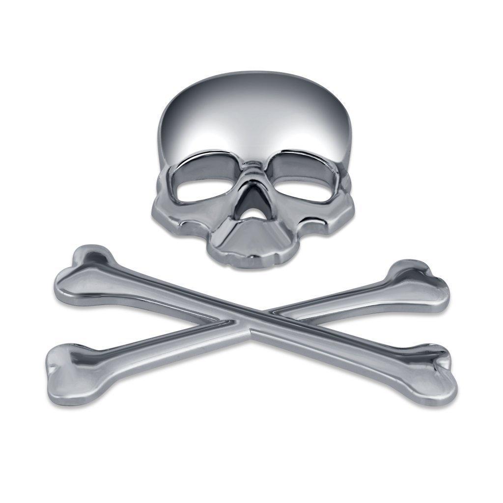 Ewin24 1pcsx Argento 3d 3m teschio di metallo scheletro Crossbones Car Design etichetta adesiva Skull distintivo dellemblema della bici del motociclo