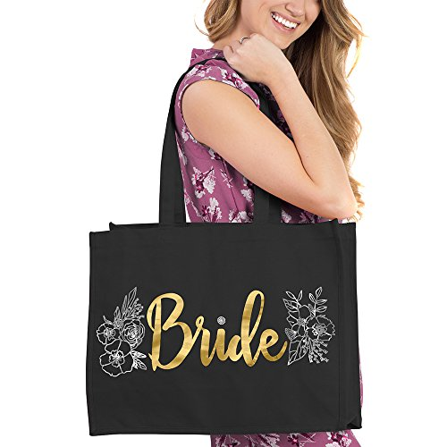 Gold Bride with Silver Floral Design Black Tote - Bridal Shower Gifts & Supplies - Black by RhinestoneSash