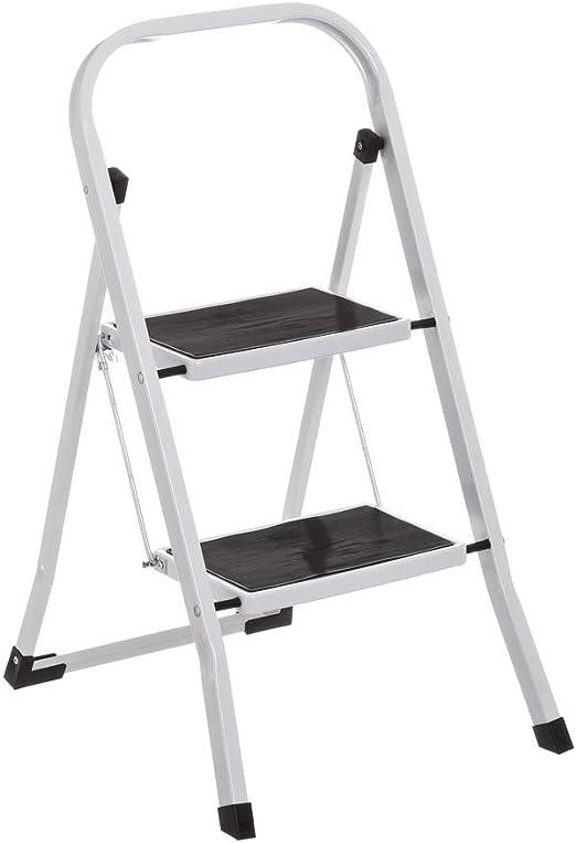 Escalera de 2 peldaños Antideslizante Blanca de Acero de 45x54x82 cm - LOLAhome: Amazon.es: Hogar