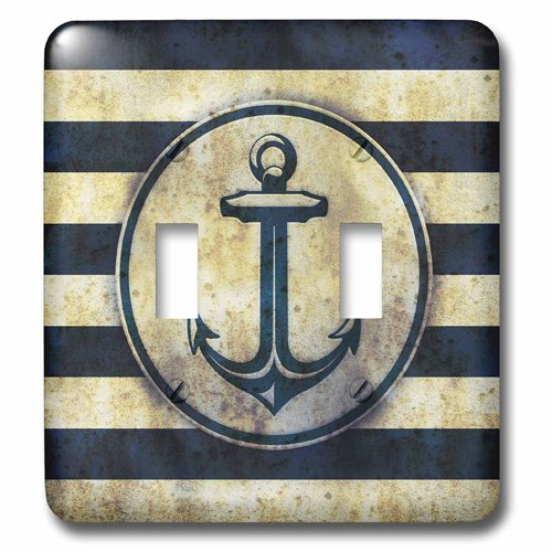 3dRose lsp_217229_2 Nautical - Grunge Sea Anchor Double Toggle Switch (Nautical Switch Plate)