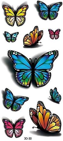 3d mariposa tatuajes temporaires Tatuajes Flash joyas de piel 3D ...