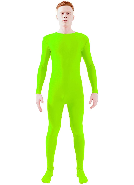eb9d35a95d0 Ensnovo Adult Lycra Spandex One Piece Unitard Full Bodysuit Costume  Fluorescent Green, M