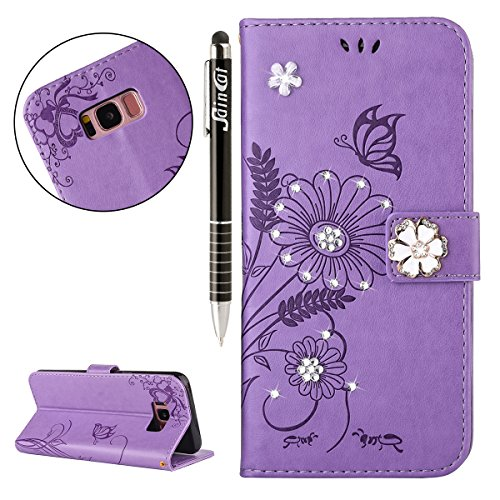 iPhone 6S Plus Hülle,iPhone 6 Plus Hülle,SainCat Retro 3D Schmetterling Blumen Muster Ledertasche Handyhülle Brieftasche im BookStyle,Glänzend Glitzer Strass Diamant PU Leder Hülle Wallet Case Folio S Strass Hellpurpur