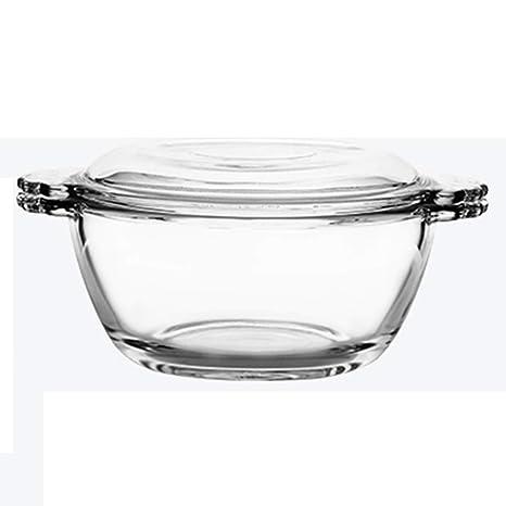 Bcanju Tazón de vidrio templado para el hogar con tapa ...