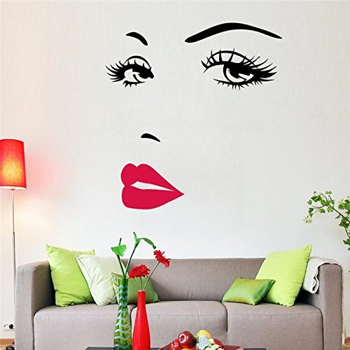 Fairyteller Sexy Girl Lip Eyes Wall Stickers Living Bedroom Decoration Zooyoo8469 Diy Vinyl Adesivo De Paredes Home Decals Mual Art Poster