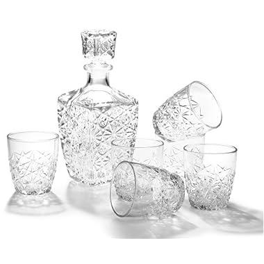 Bormioli Rocco Dedalo 7-Piece Whiskey Decanter Set, Set of 6 Rocks Glasses and One Whiskey Decanter, Gift Boxed