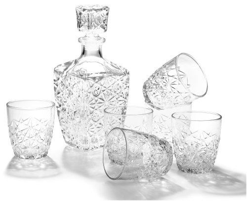 7 Piece Glass Set (Bormioli Rocco Dedalo 7-Piece Whiskey Decanter Set, Set of 6 Rocks Glasses and One Whiskey Decanter, Gift Boxed)