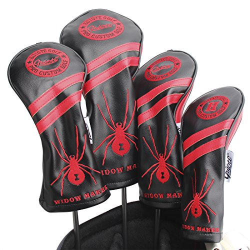 Guiote #1 #3 #5 H Golf Wood Headcovers 4PC/Set 460CC Driver/Fairway Wood/Hybrid PU Leather Vintage Golf Clubs Head Covers Set for Taylormade, Callaway, Titleist, Ping Nike Yamaha (Widow Maker-black)