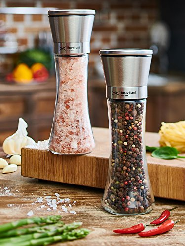 Salt and Pepper Grinder Set - Mill and Shakers Kit - Brushed Stainless Steel, Tall Premium Glass and Adjustable Ceramic Grinding System for Cooking Spices - Perfect on (Vintage Pink Depression Glass)