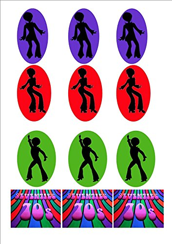 70s Seventies Disco Dancing Mix A - EASY TO CUT DESIGN - Fun Novelty Birthday PREMIUM STAND UP Edible Wafer Card Cake Toppers Decoration]()