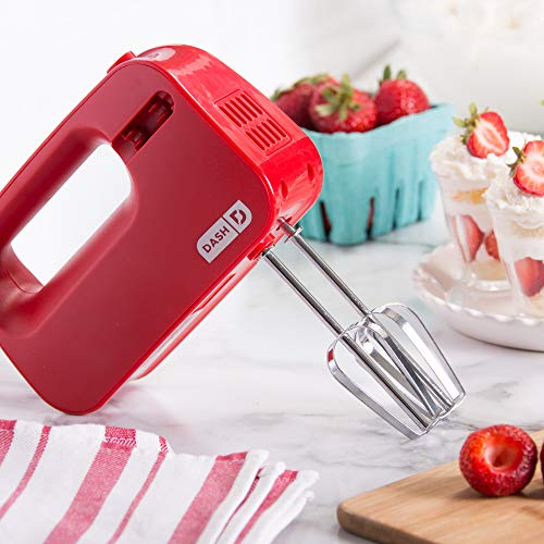 Dash Smart Store Compact Hand Mixer Electric for Whipping + Mixing Cookies, Brownies, Cakes, Dough, Batters, Meringues & More, 3 Speed, Red