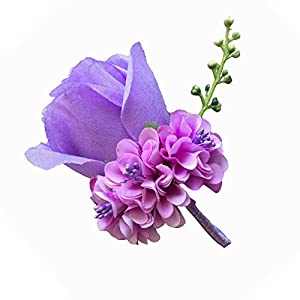 WeddingBobDIY Boutonniere Buttonholes Groom Groomsman Best Man Rose Wedding Flowers Accessories Prom Suit Decoration (Light Purple) 10